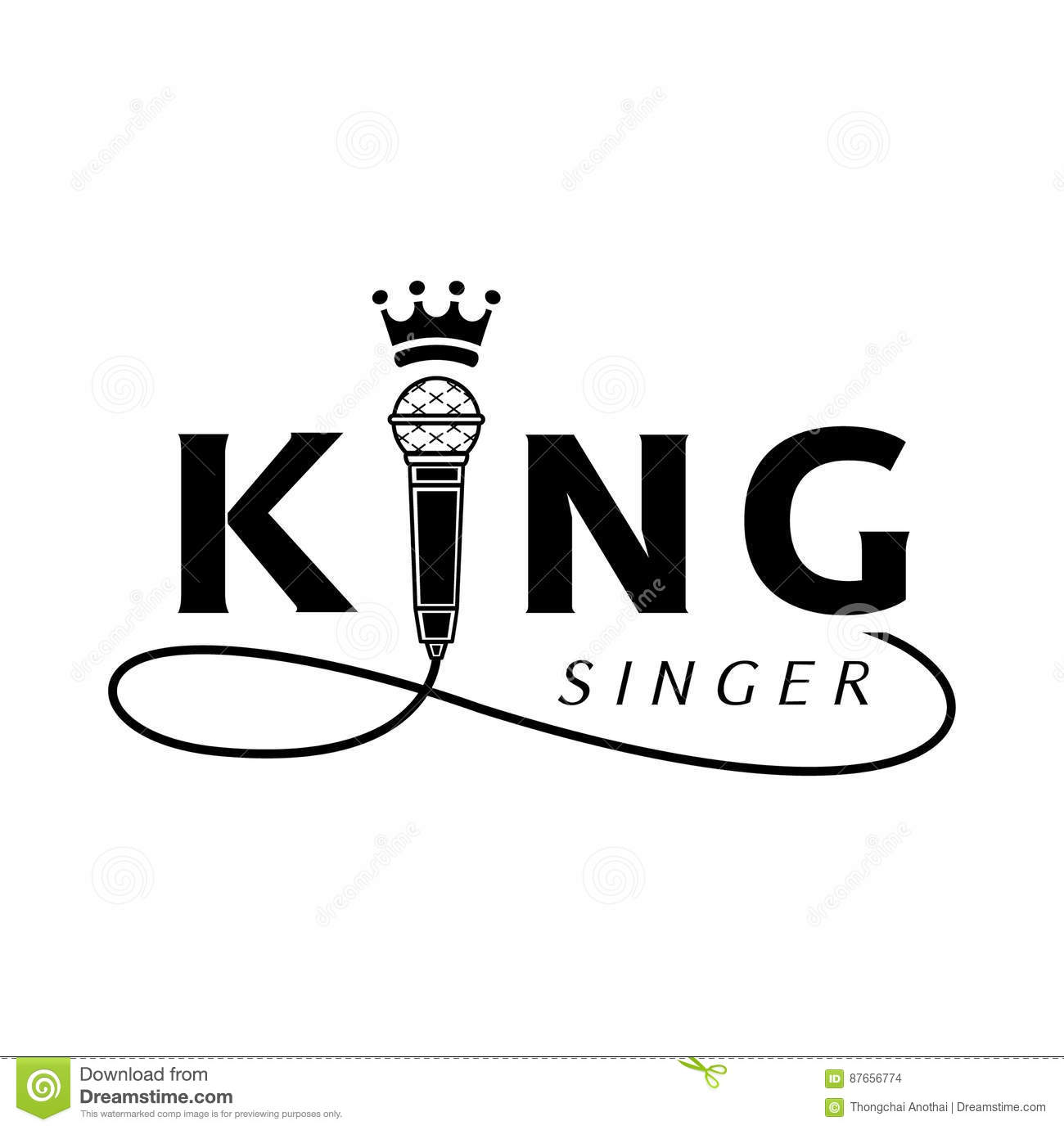 King Singer Logo With Microphone Stock Vector