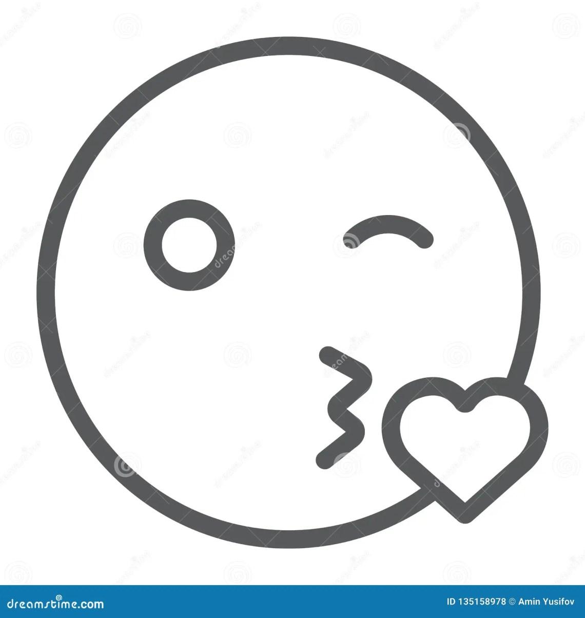 Download Kiss Smile Line Icon, Emoticon And Expression, Love Emoji ...
