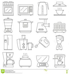 big set of line icon of electrical kitchen appliances isolated on white background flat design appliances group home kitchen icon  [ 1300 x 1390 Pixel ]