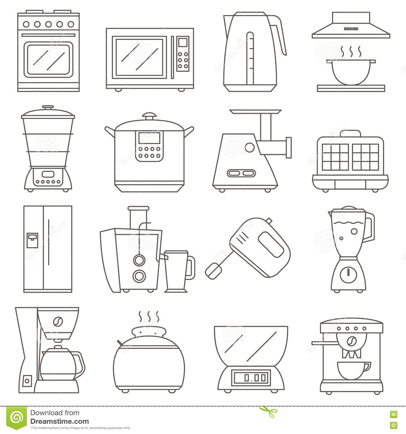 hight resolution of big set of line icon of electrical kitchen appliances isolated on white background flat design appliances group home kitchen icon