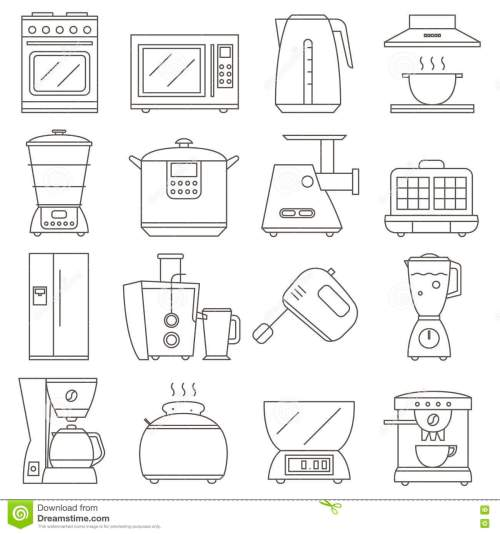small resolution of big set of line icon of electrical kitchen appliances isolated on white background flat design appliances group home kitchen icon