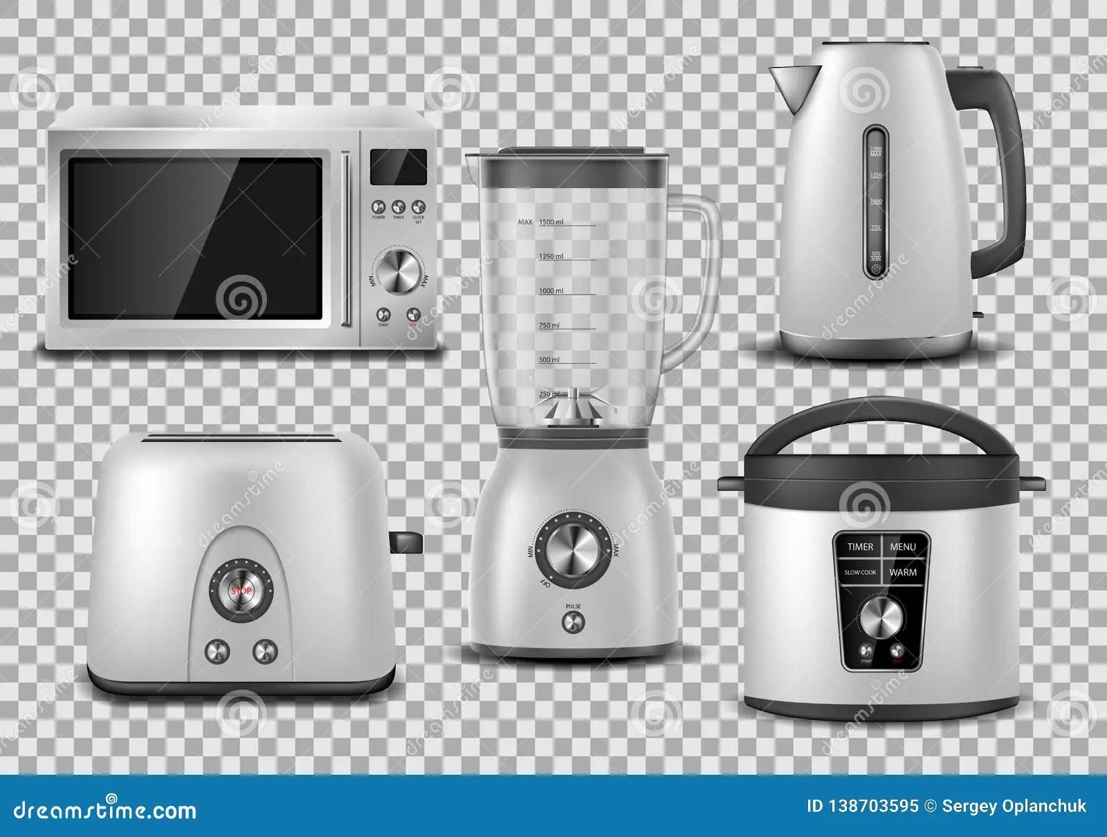 https www dreamstime com kitchen appliances realistic microwave kettle blender oven juicer toaster multicooker silver mockup set household appliance image138703595