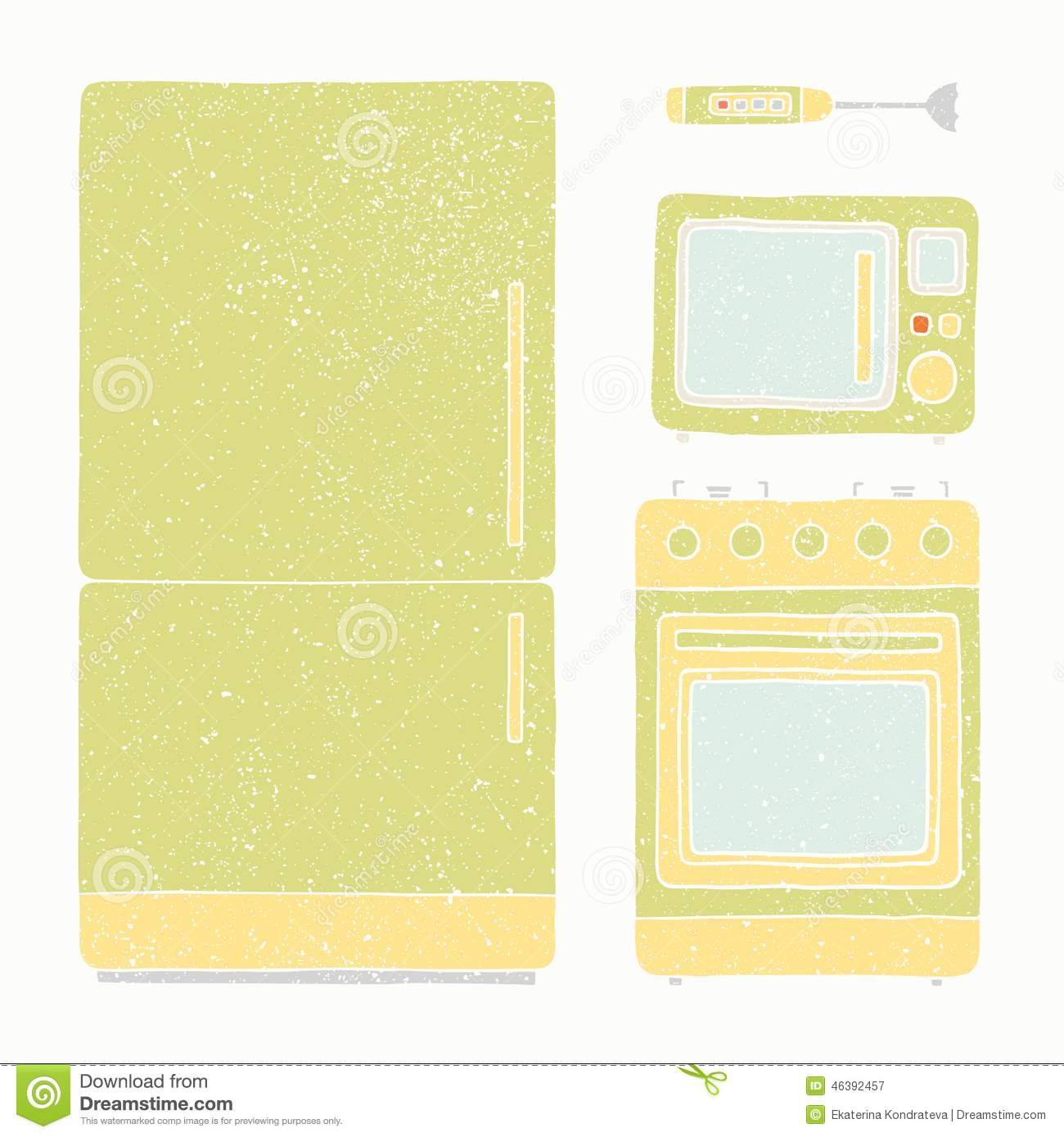 kitchen appliances set free standing storage stock vector image 46392457