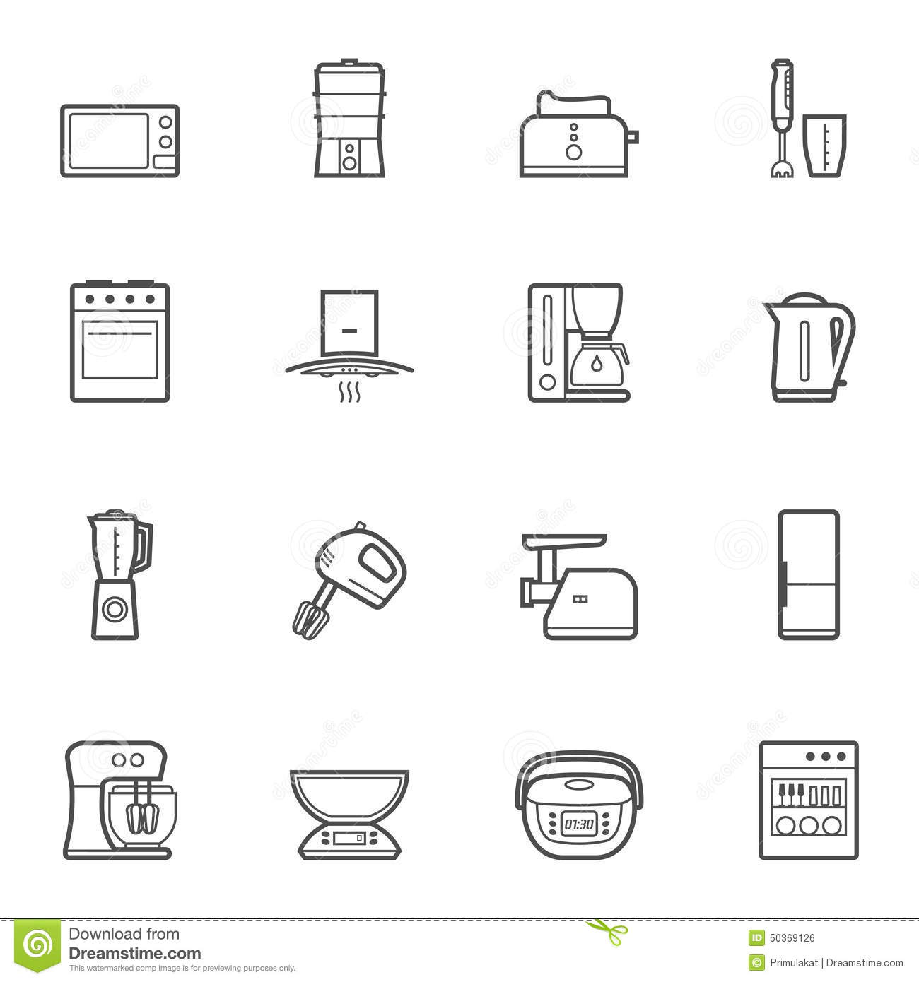 Kitchen Appliances Vector Line Style Icon Set Stock Vector