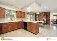 Kitchen With Brick Fireplace Royalty Free Stock Photos ...