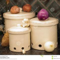 Kitchen Canisters Pottery Table Storage For Potatoes,onions, And Garlic Stock ...