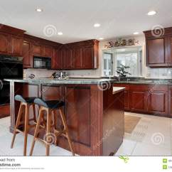 Cherry Wood Kitchen Island Aid Mixer On Sale With Cabinetry Stock Photo Image