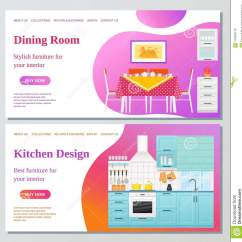 Kitchen Design Template Roll Out Cabinet Dining Room Web Page Vector Illustration