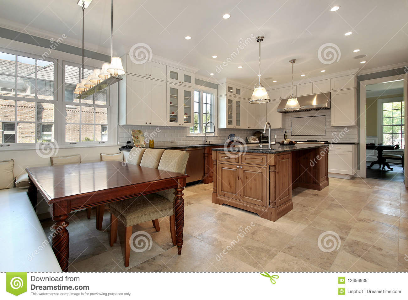 kitchen cabinet plans target chairs with eating area and bench stock image - ...