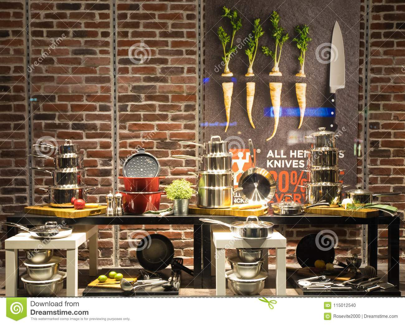 kitchen tools store plastic trash can equipment display in the editorial image of