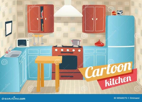 Kitchen Furniture Accessories Interior Cartoon Stock