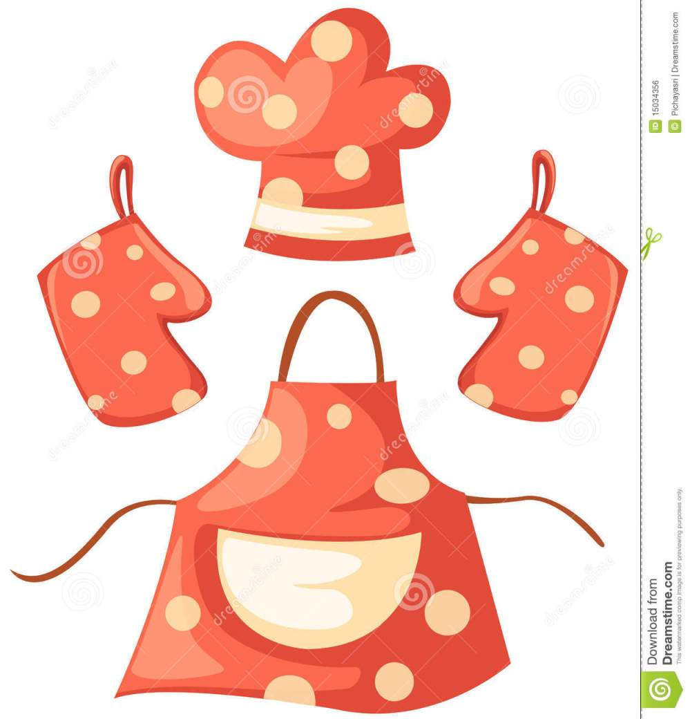 medium resolution of kitchen glove and apron and chef hat