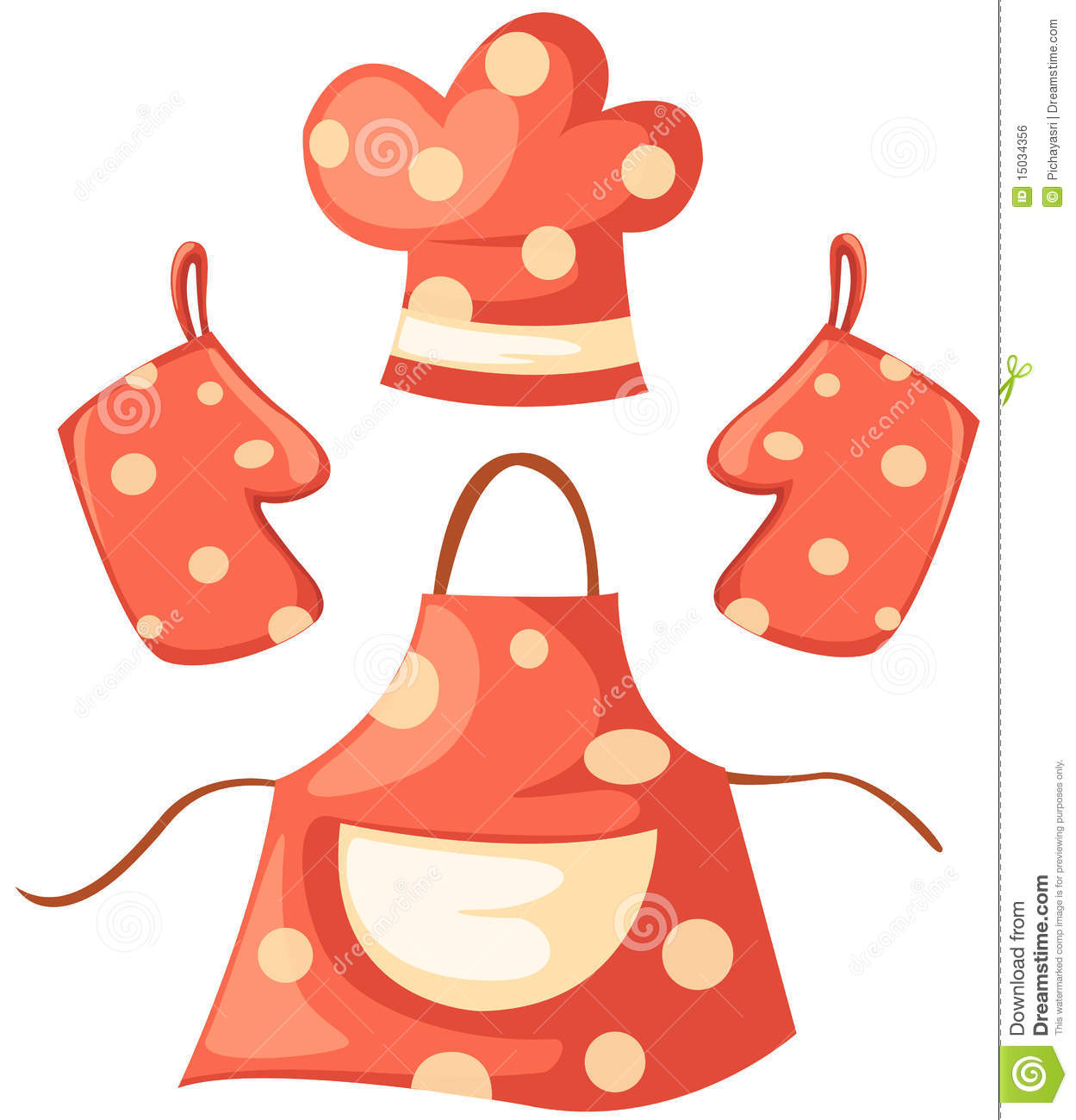 hight resolution of kitchen glove and apron and chef hat