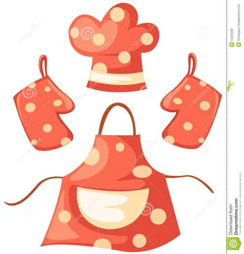 small resolution of kitchen glove and apron and chef hat