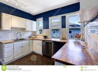 Kitchen Interior In Bright Navy And White Colors Stock ...