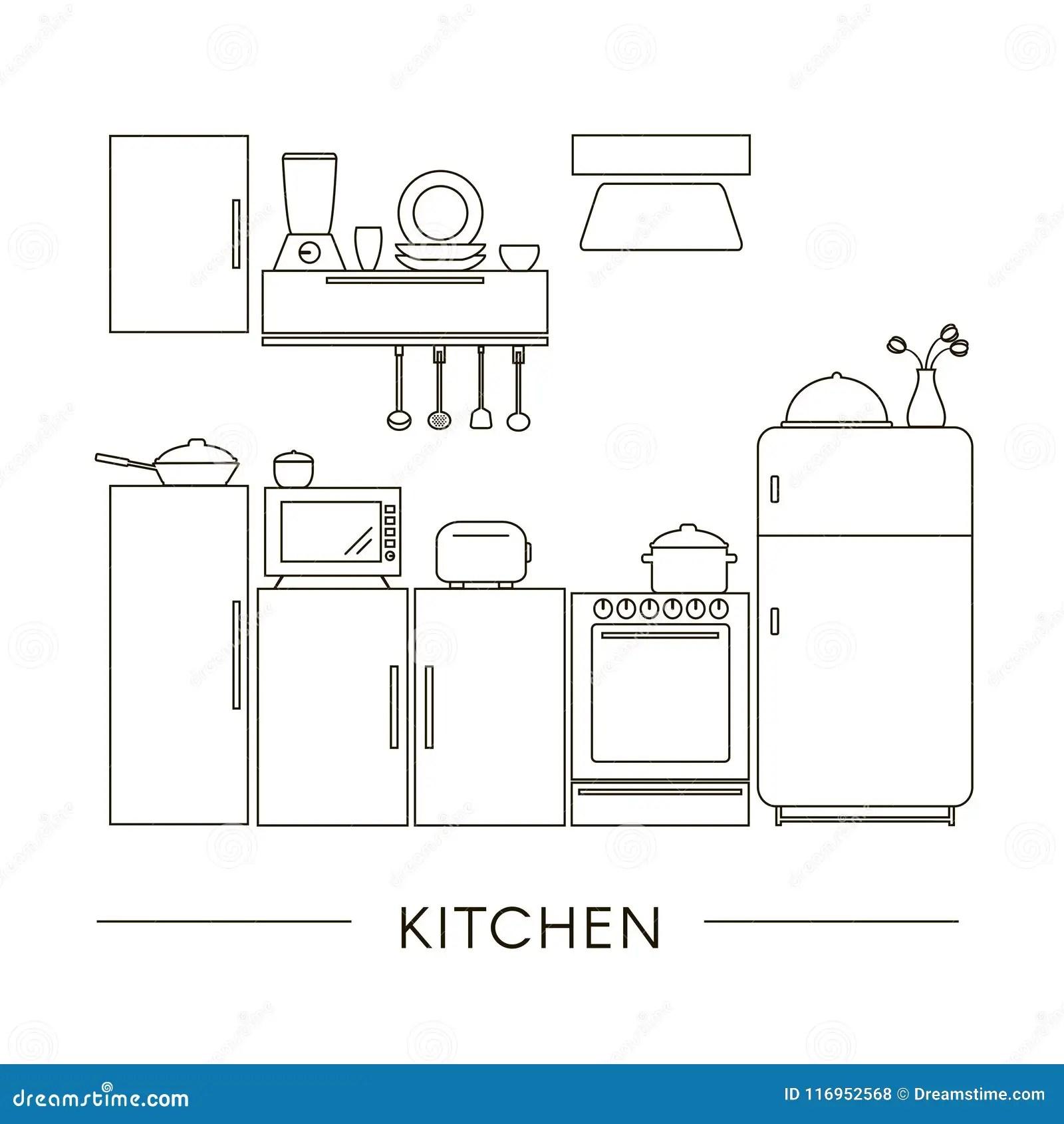 household appliances line vector icons cartoon vector