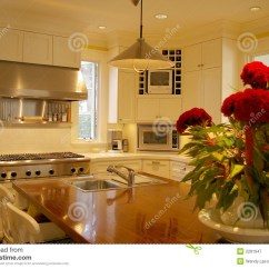 Kitchen Island Centerpiece Stationary Islands Stock Image Of Wooden Steal Sink