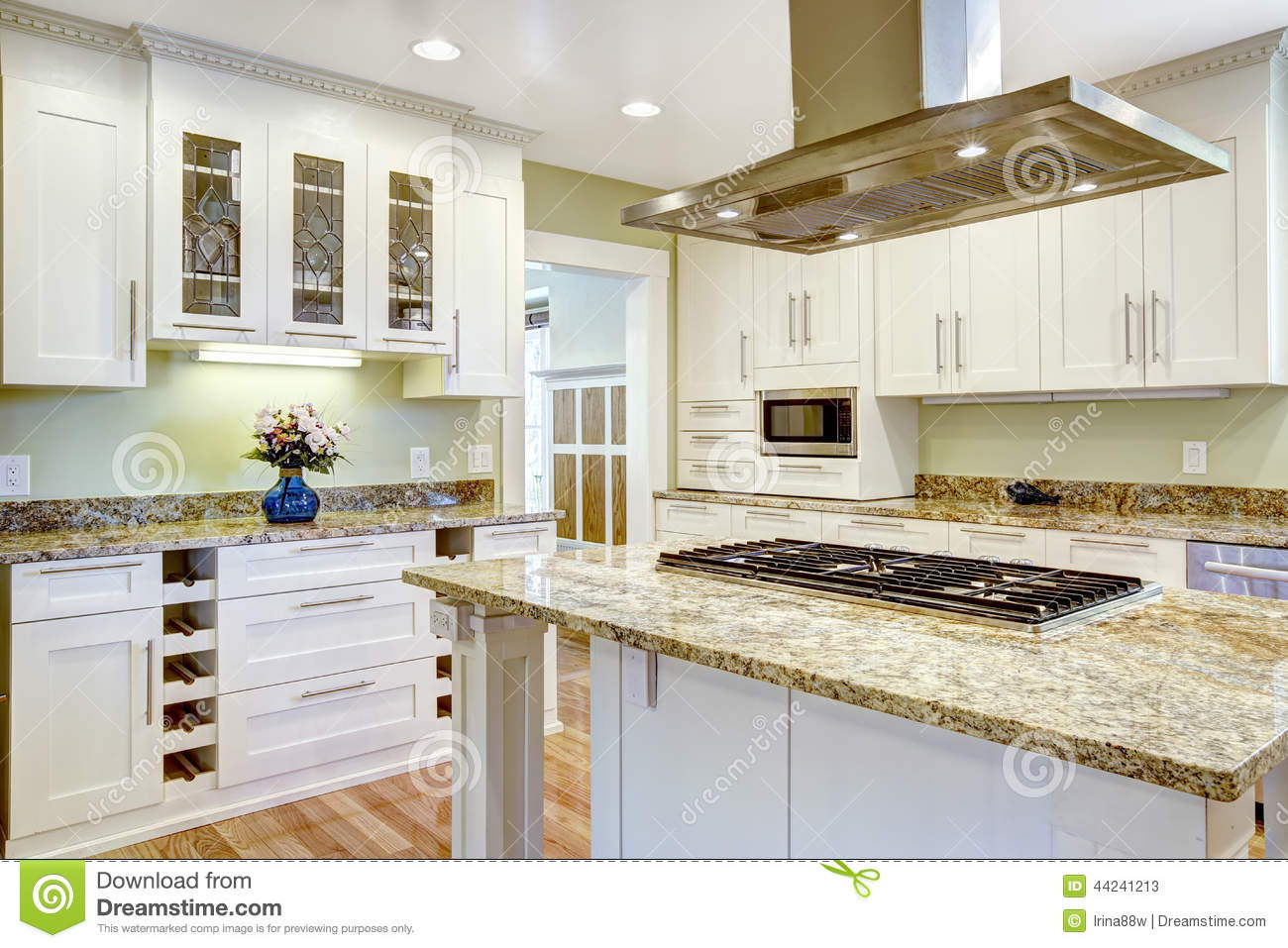 kitchen island stove companies that spray paint cabinets with built in granite top and hood stock image