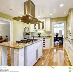 Kitchen Island With Stove Disposal Built In Granite Top And Hood Stock Image