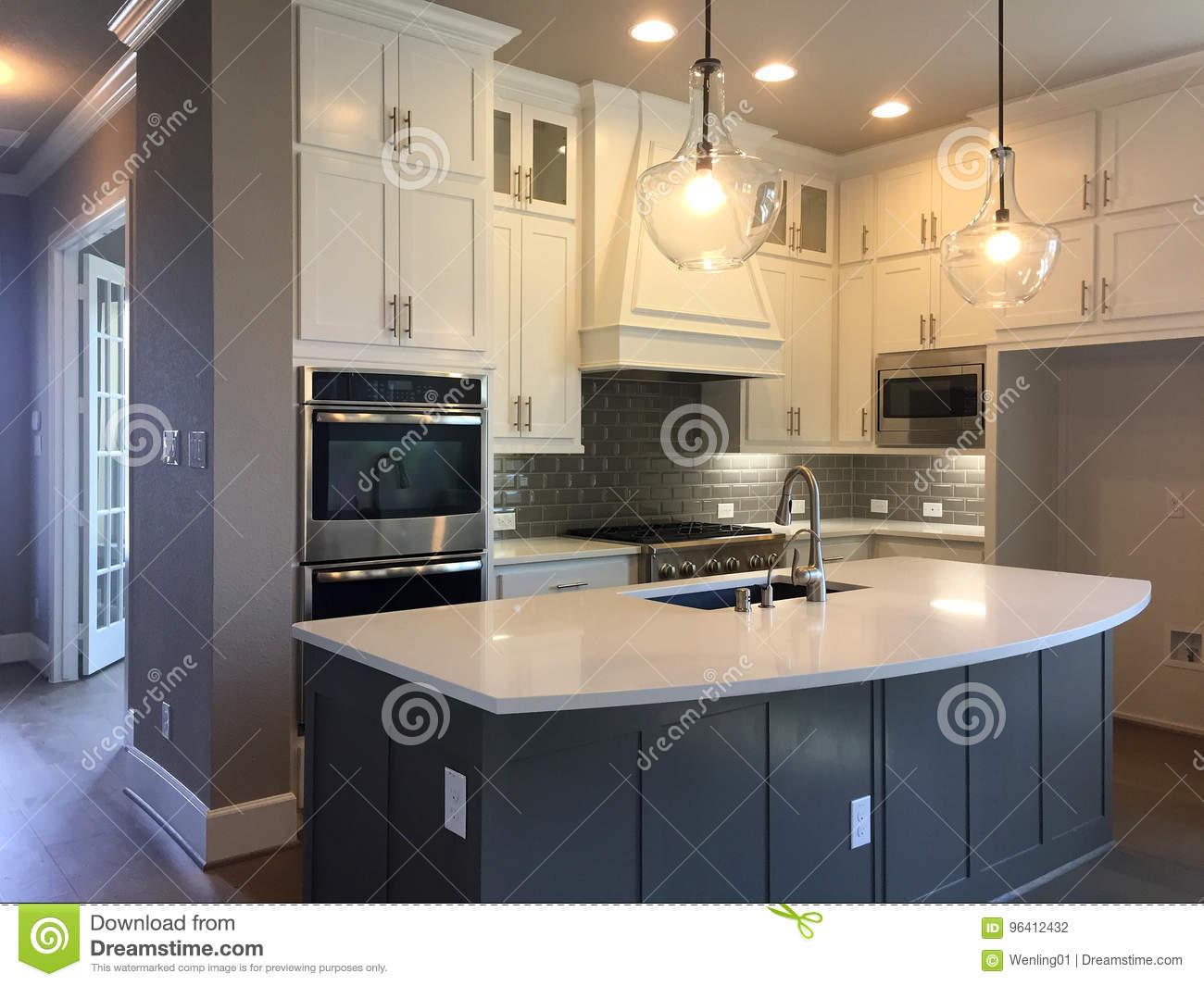 kitchen island counter hotel suites with design in a new house stock photo