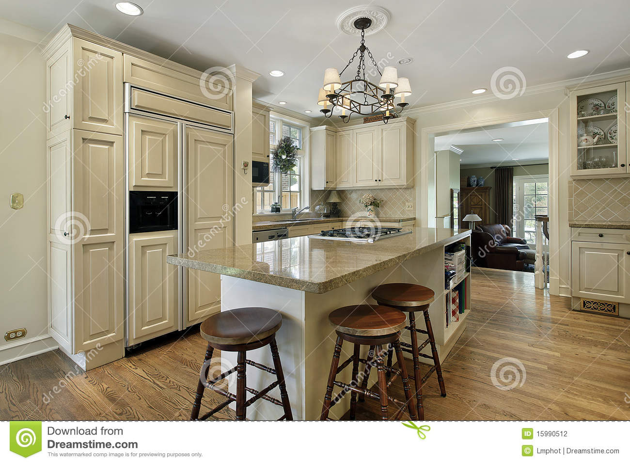 Kitchen With Large Center Island Stock Photo  Image 15990512