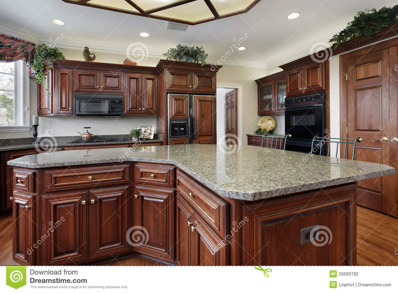 Kitchen With Large Center Island Stock Photography Image
