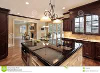 Kitchen with large island stock photo. Image of dining ...