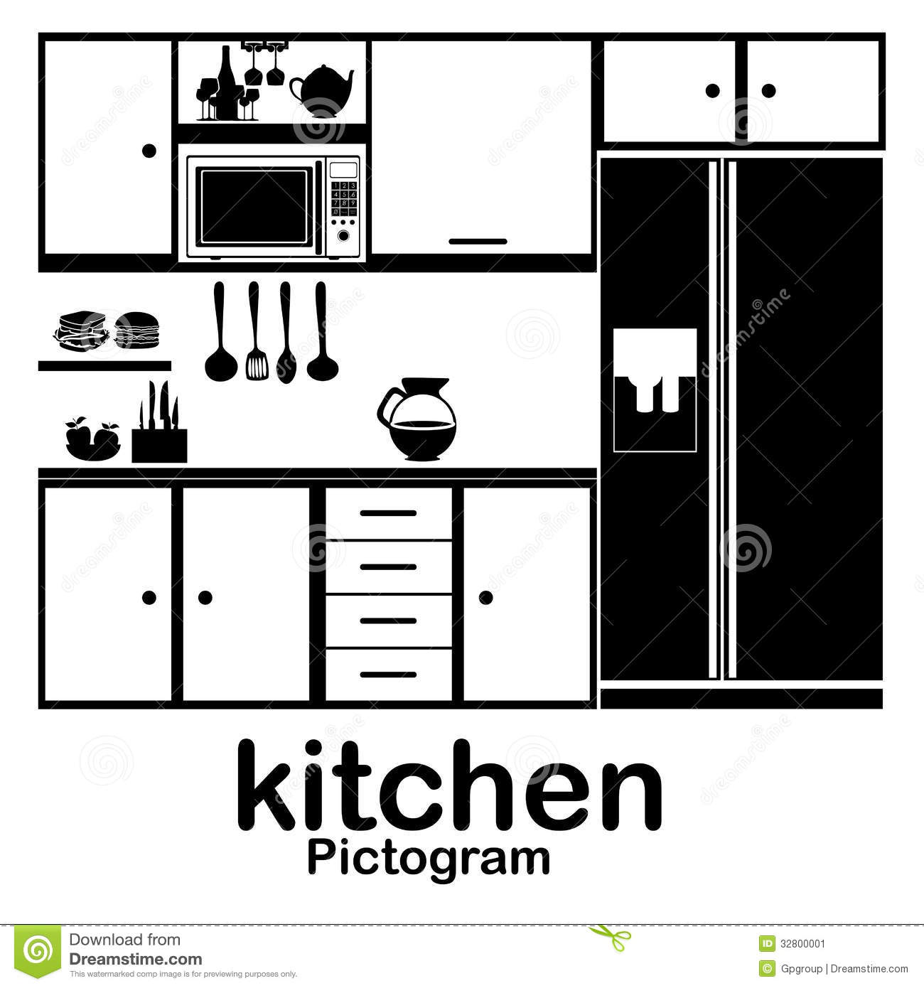 Kitchen stock vector. Image of cooker, fridge, collection