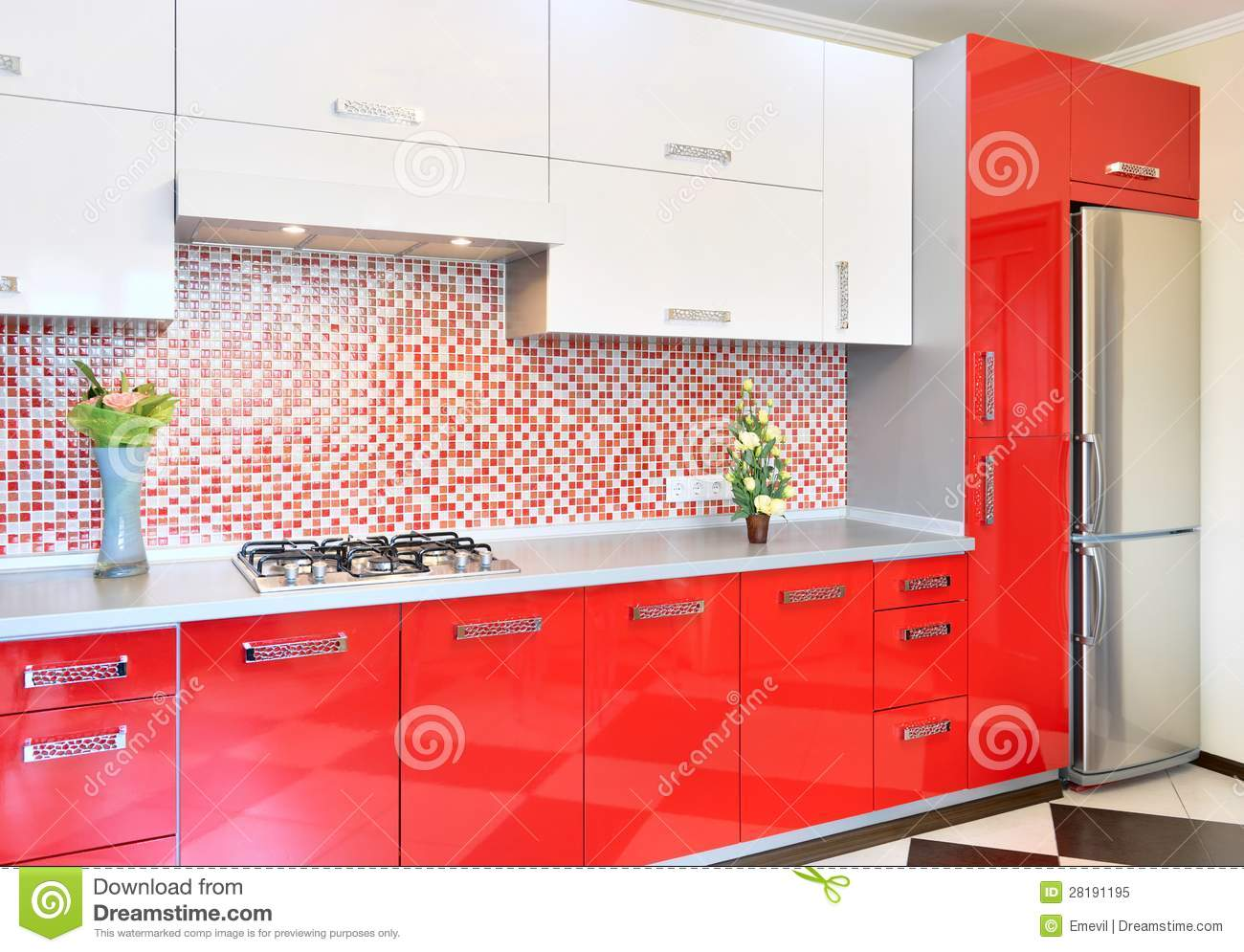 kitchen cabinet plans black hardware for cabinets red and white royalty free stock photo - image ...