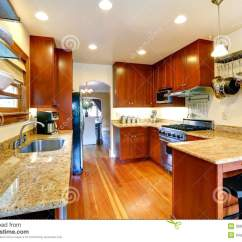 Hanging Kitchen Cabinets Cabinet Glass Room With Archway To Dining Area Stock Photo ...