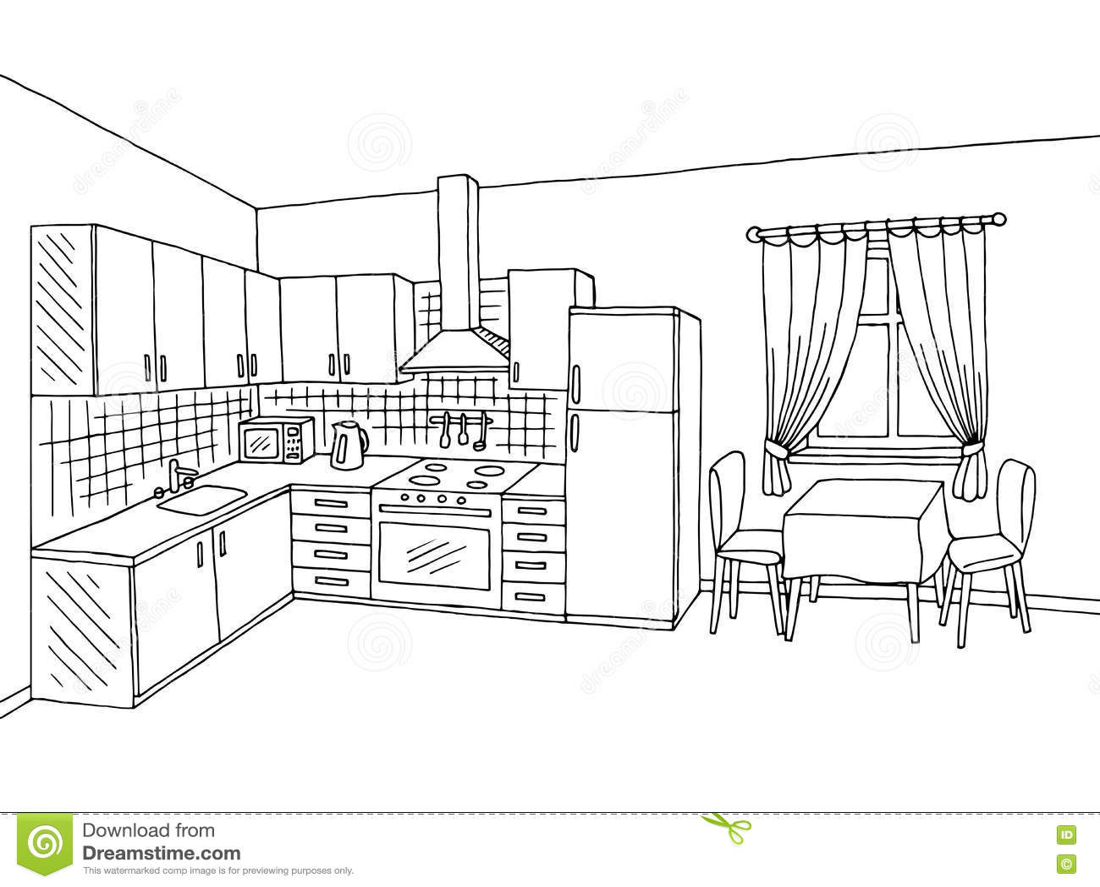 Kitchen Room Interior Black White Graphic Art Sketch