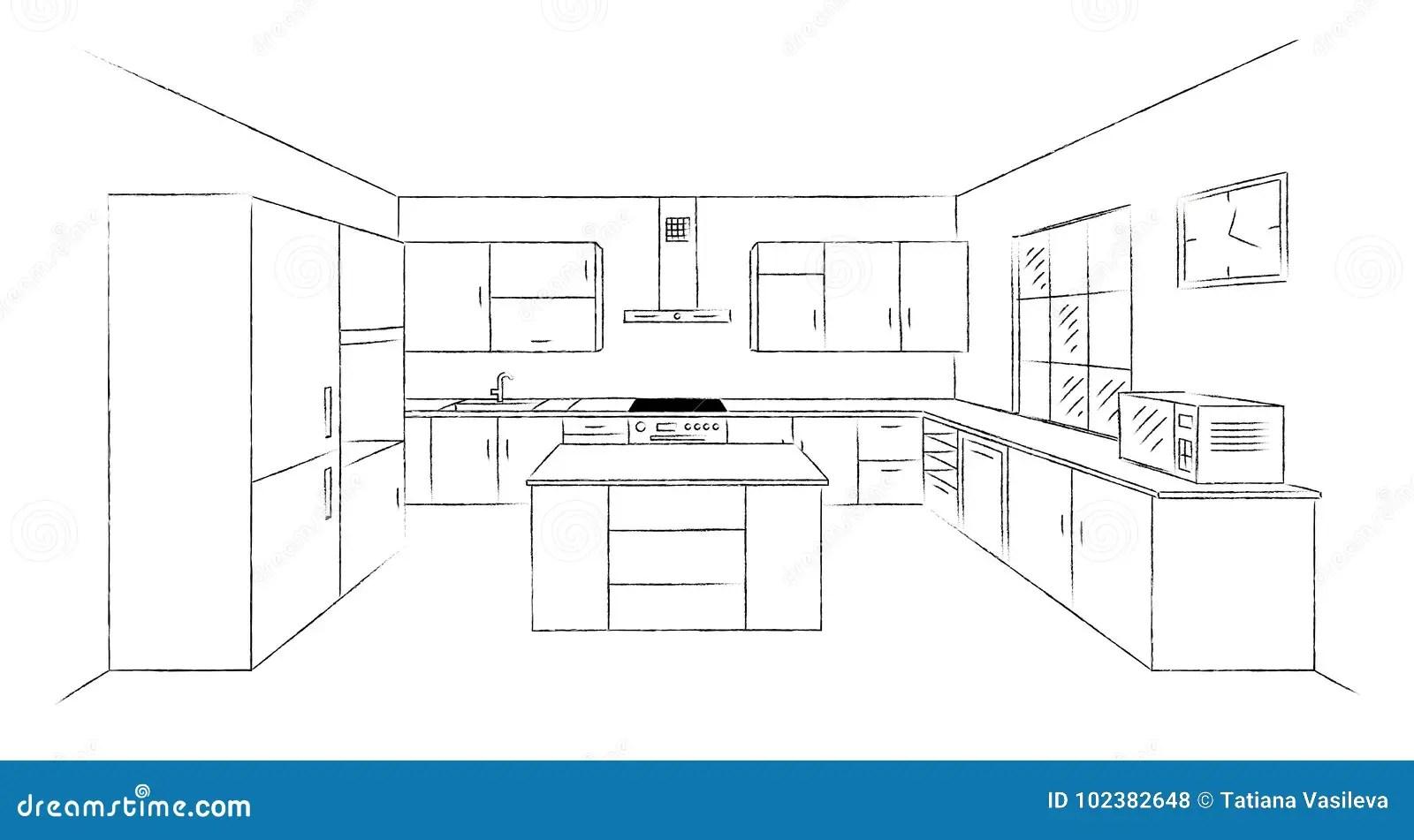 Kitchen Sketch 3d Stock Vector Illustration Of Dishwasher