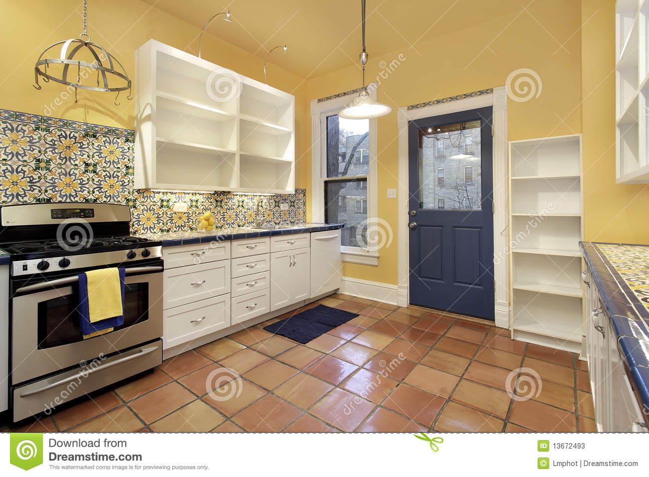 Kitchen With Terra Cotta Floor Tile Stock Photos Image 13672493