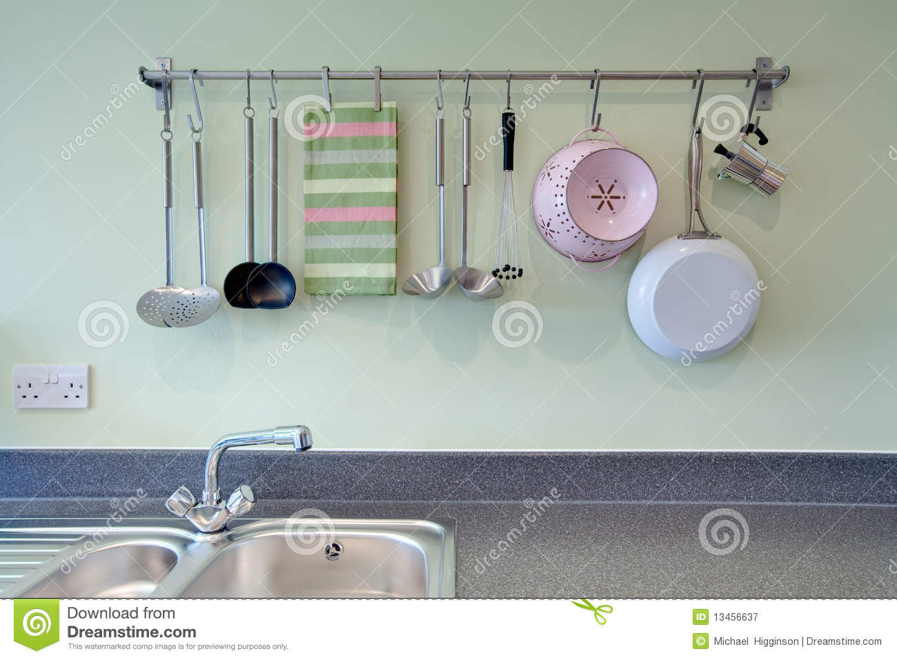 kitchen utensil rack sink disposal stock image of utensils modern 13456637