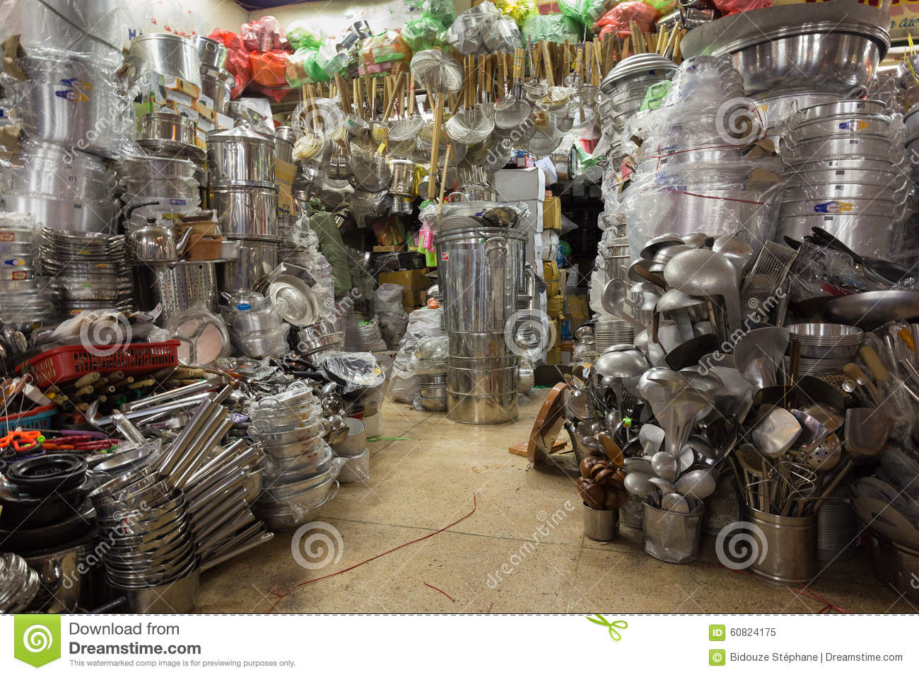 Kitchen Utensils Asian Shop Stock Photo Image 60824175