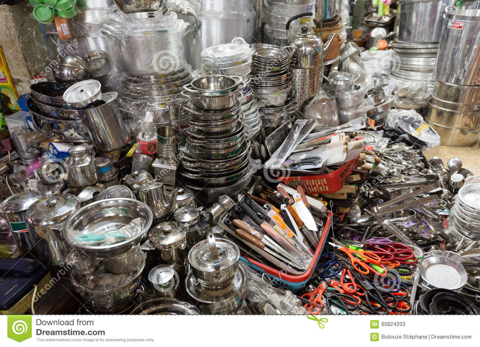 kitchen utensils store tool set asian shop stock image 60824203