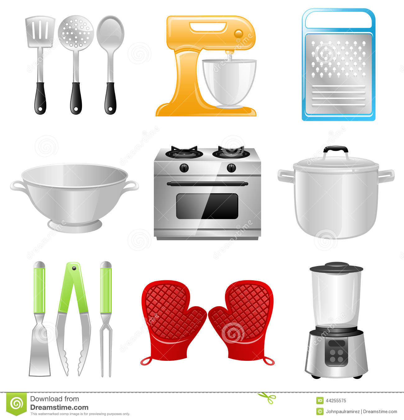 kitchen equipment modern round table utensils cooking restaurant stock vector illustration of collection different and appliances best for concept