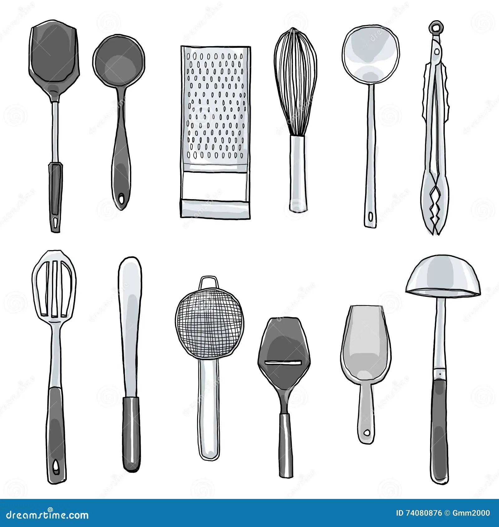cute kitchen gadgets modular usa hand drawn utensils cartoon vector cartoondealer