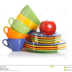 Kitchen Cups And Plates Backsplash For White Utensils On A Stock Image