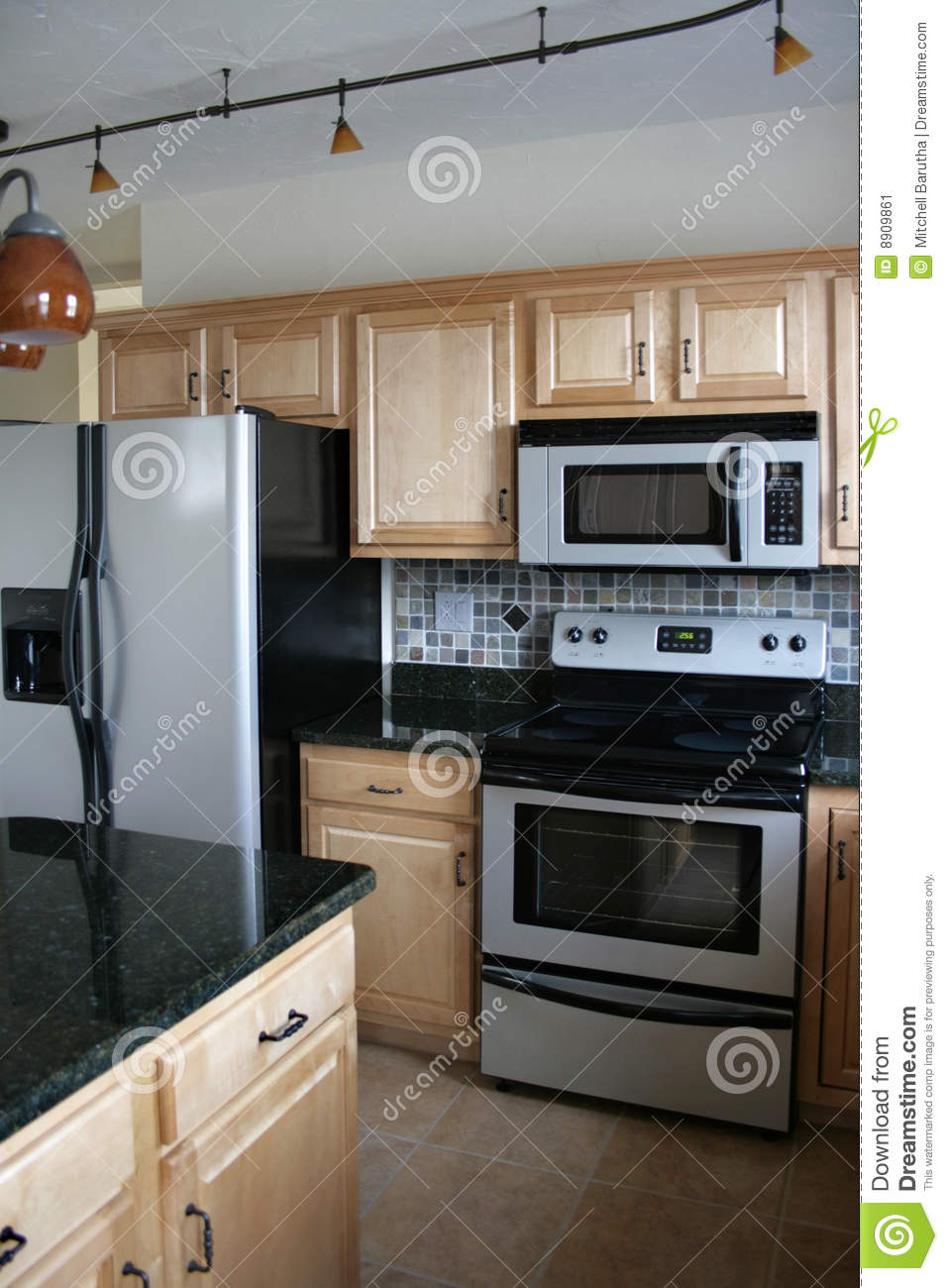 kitchen remodel prices apartment size appliances wood cabinets stainless refrigerator stock image ...