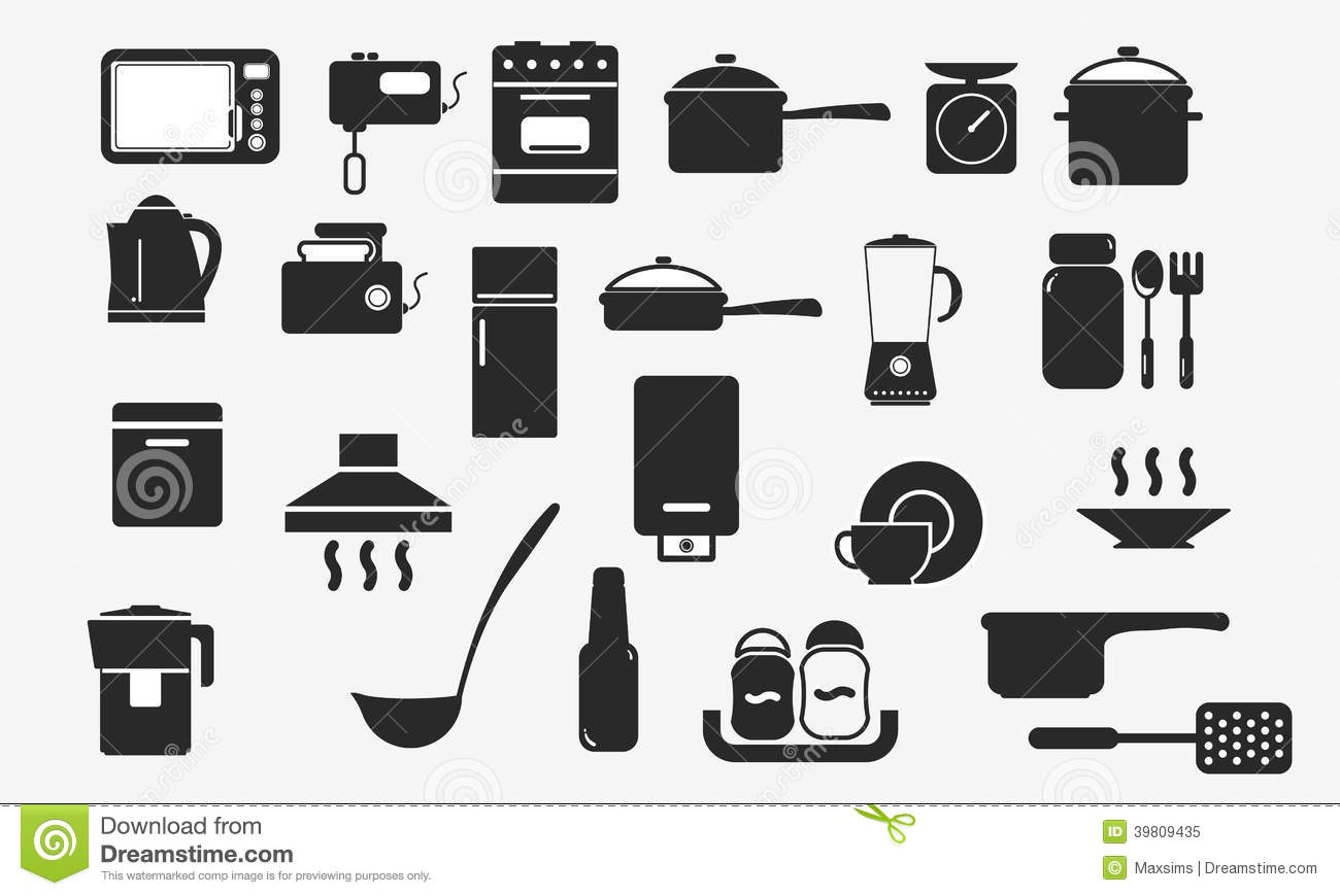 Kitchenware Icons Household Appliances Web Stock Vector