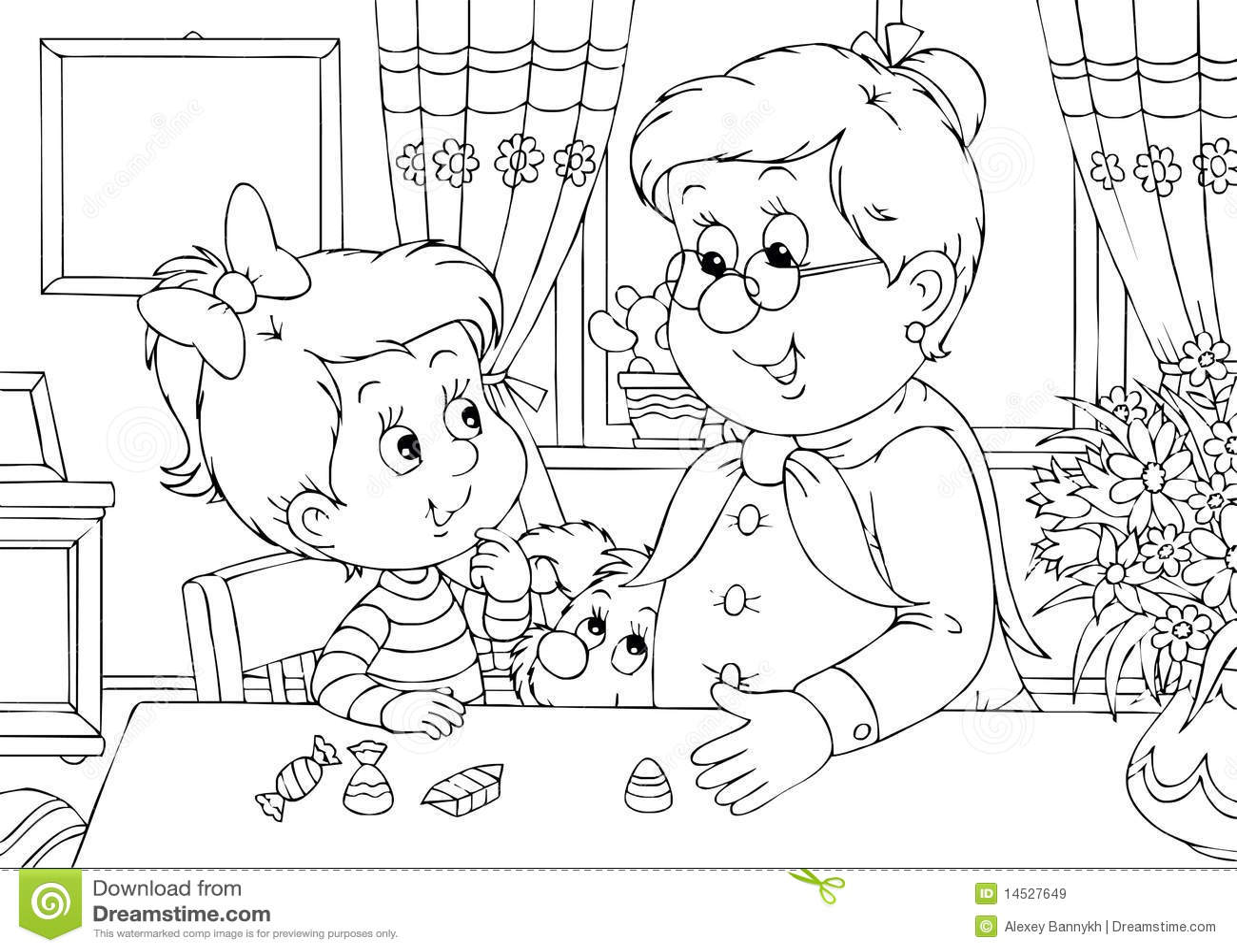 Kleindochter En Oma Stock Illustratie Illustratie