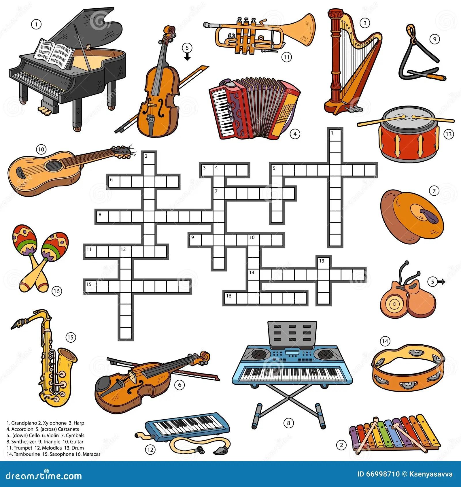 Kleurenkruiswoordraadsel Over Muziekinstrumenten Vector