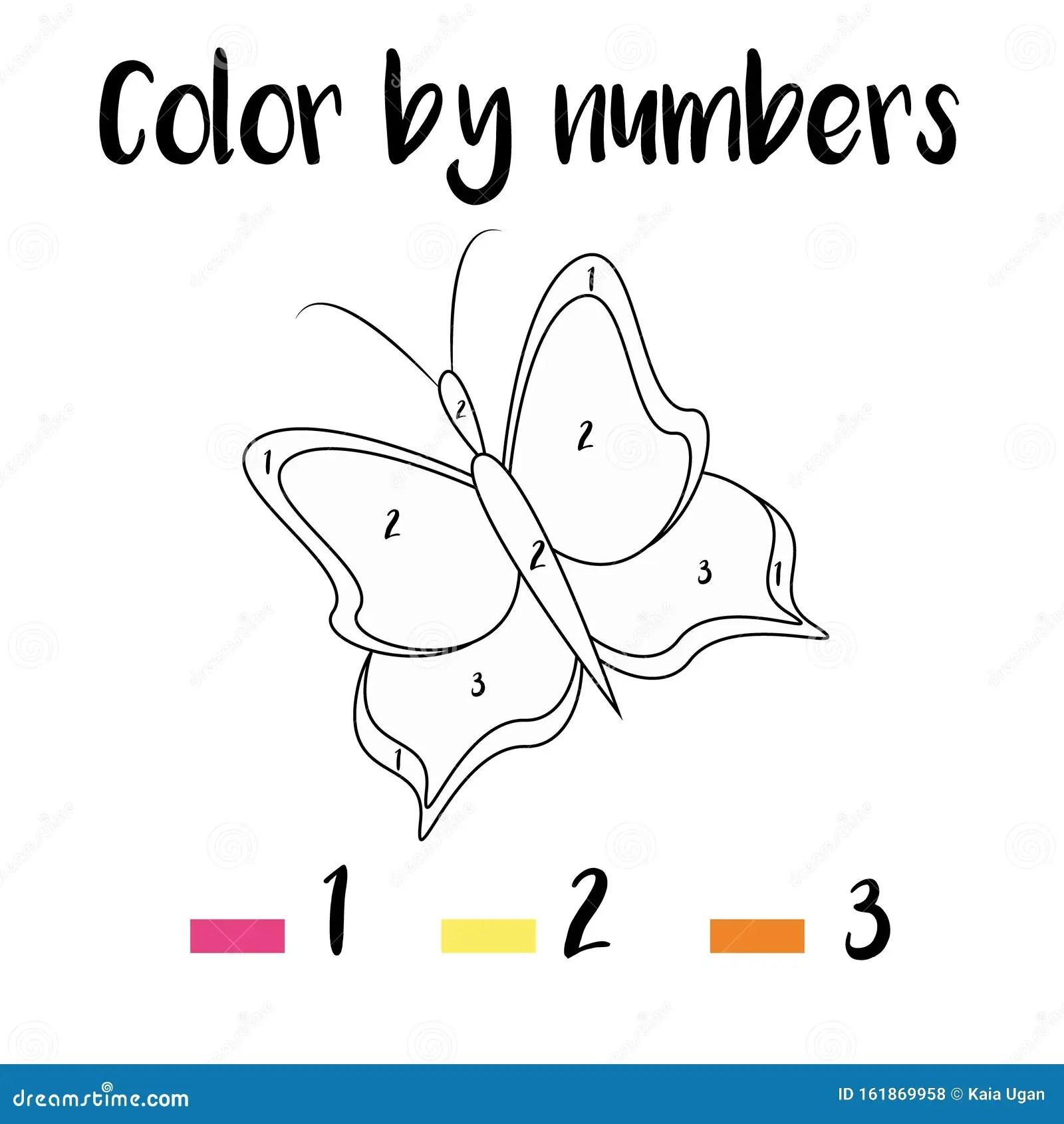 Kleurpagina Met Vlinder Kleur Op Basis Van Aantallen
