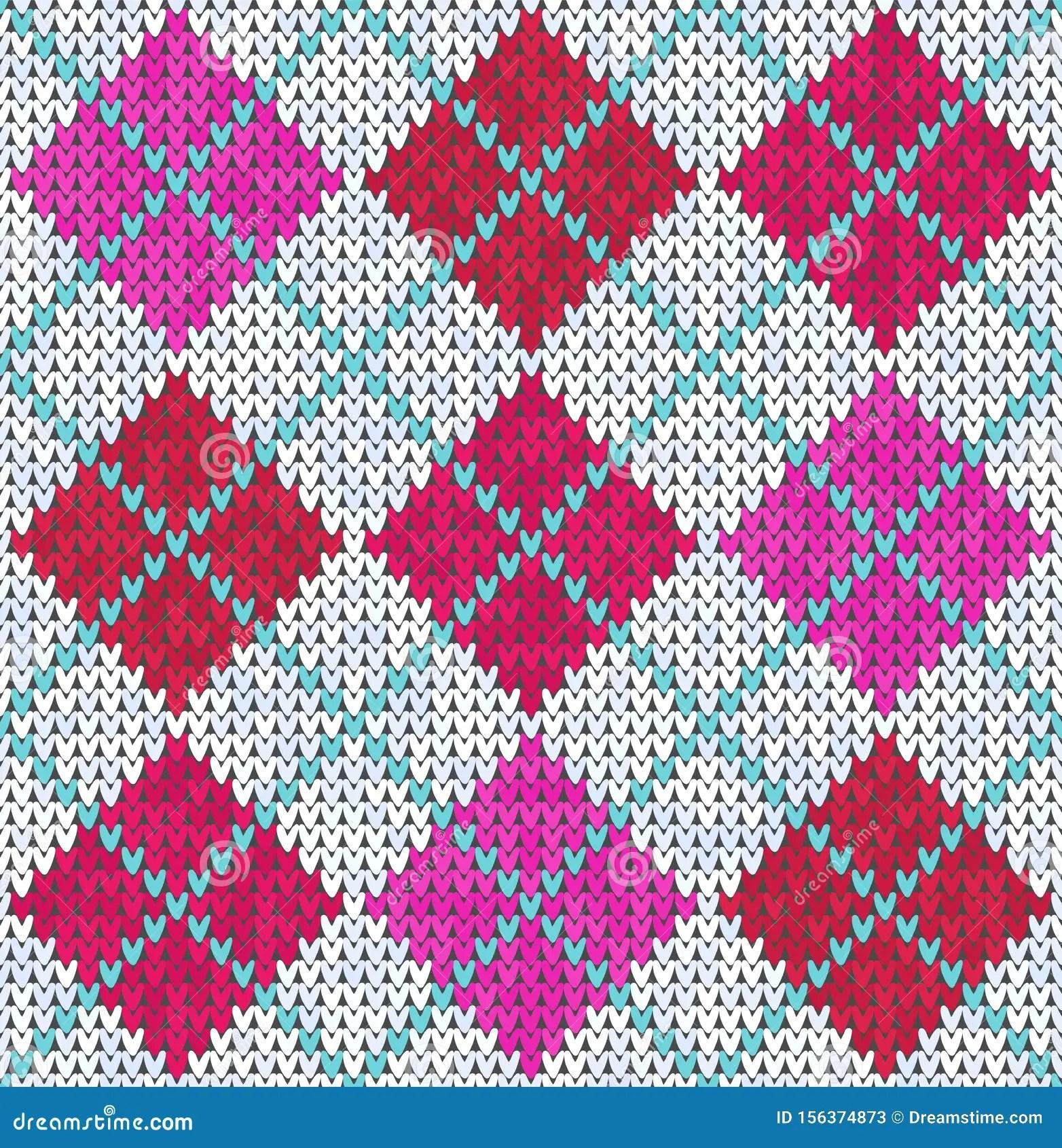 Knitting Classic Geometric Pattern Knitted Realistic