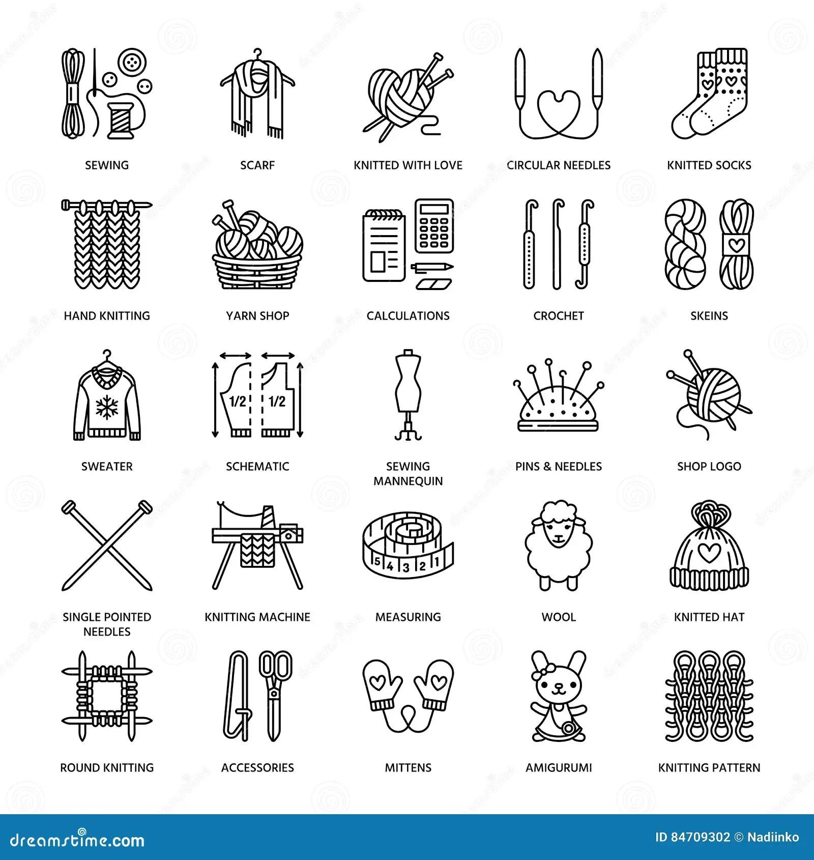 Knitting, Crochet, Hand Made Line Icons Set. Knitting