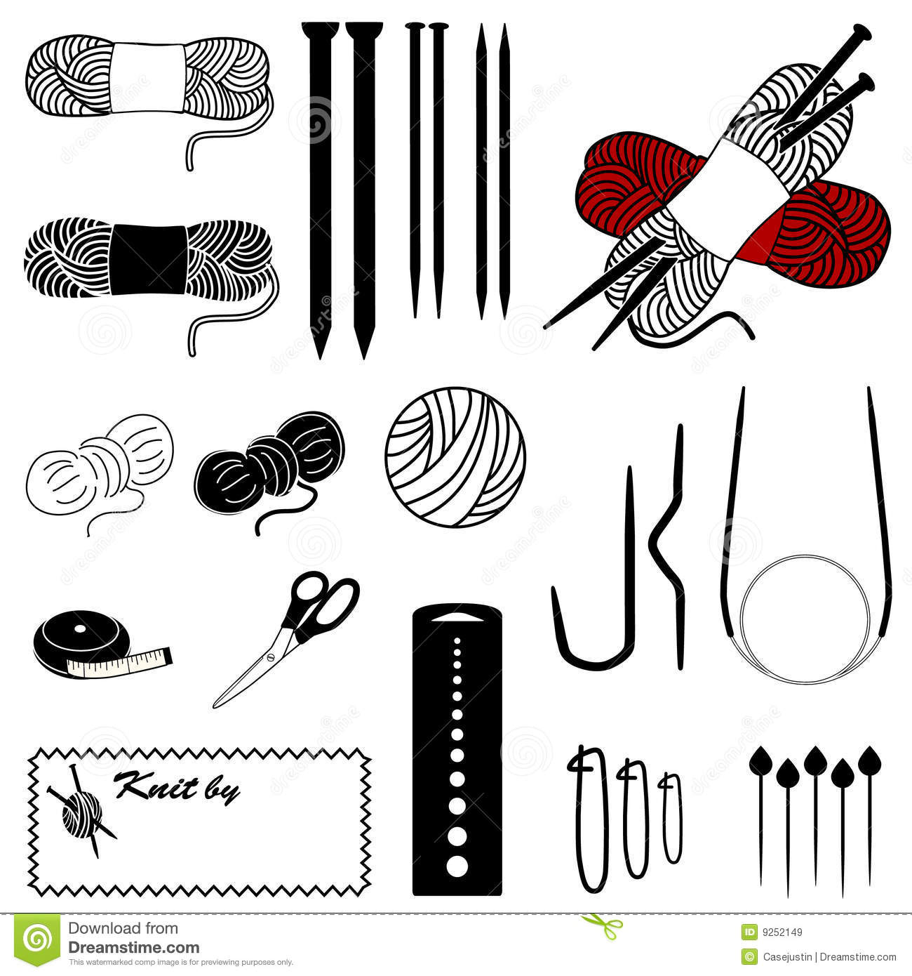 Knitting Icons stock vector. Illustration of measure