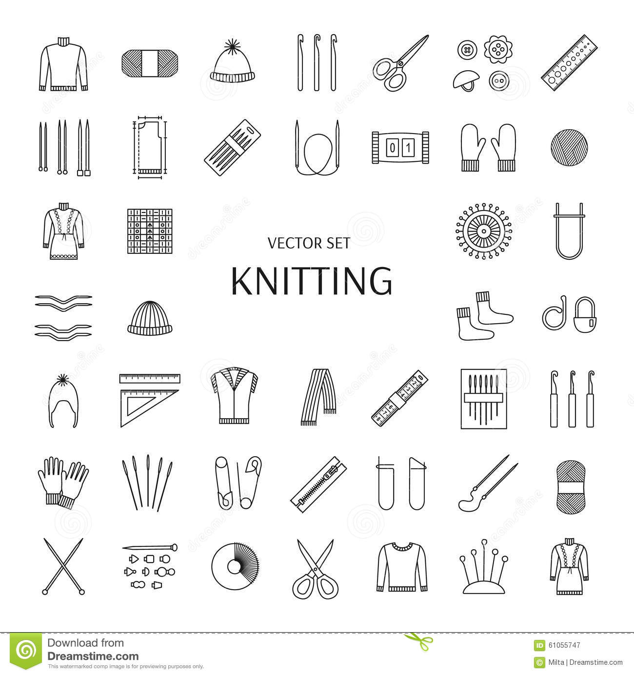 Knitting Line Icons Set Knitting Supplies And Accessories