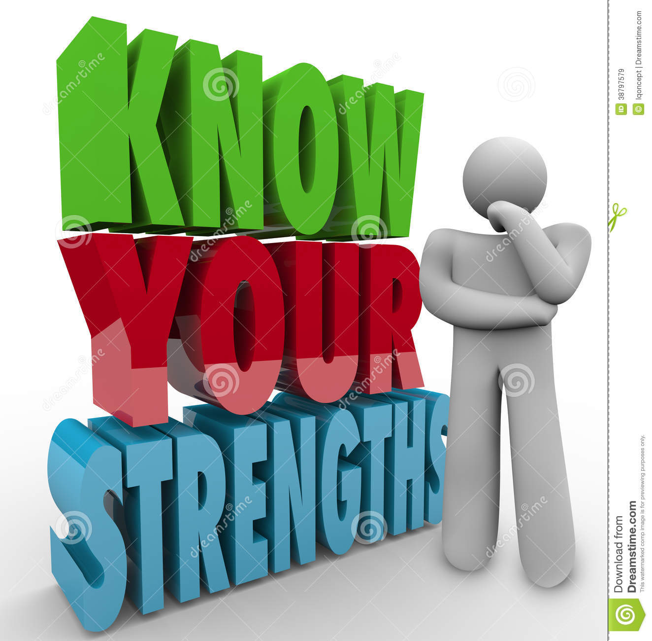 Know Your Strengths Person Thinking Special Skills Stock