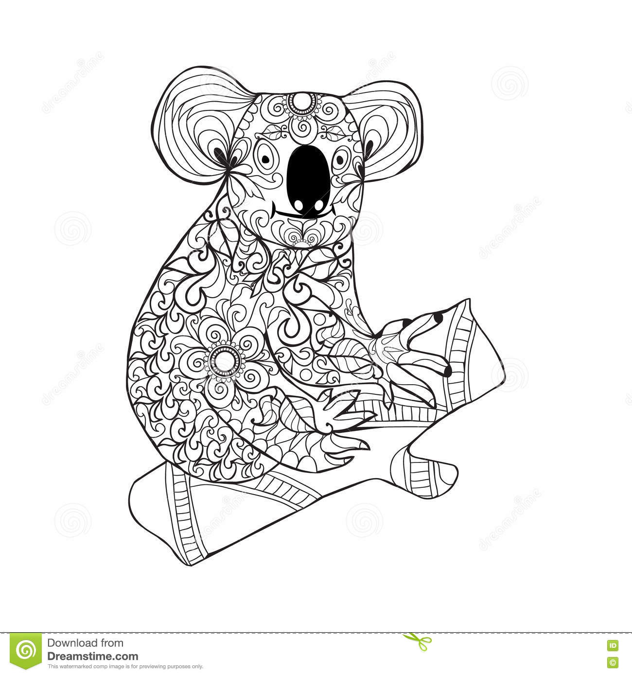 Koala Black White Hand Drawn Doodle Animal For Coloring